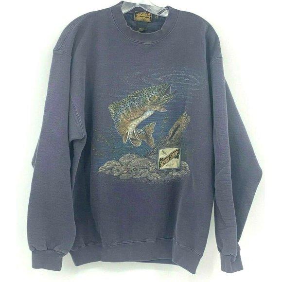Eddie Bauer  L Blue Vintage Fishing Sweatshirt